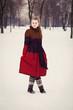 beautiful woman in winter park