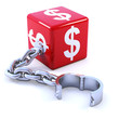 Red dice with US dollar symbol and chain