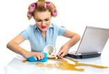 Funny business woman cleaning desktop. Dirty workspace poster
