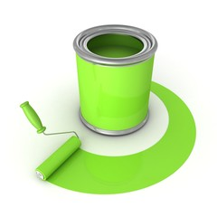 Can with green paint and roller brush