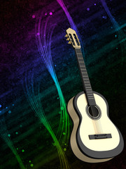 Abstract background with a guitar