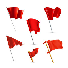Red flags, icon set