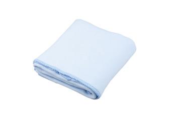 blue fleece blanket for baby on white background