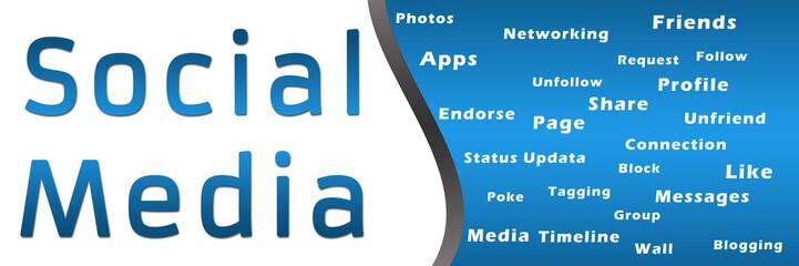 Social Media with Keywords - Blue Banner