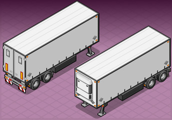 Detailed illustration of a isometric tow frigo truck