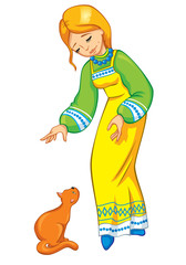 Girl with a cat in a national costume