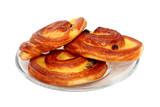 Homemade buns with raisins isolated