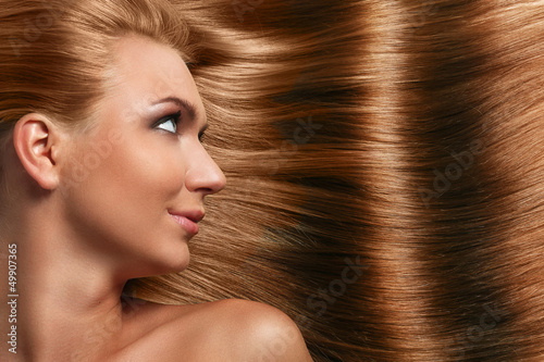 Caucasian woman with long beautiful hair