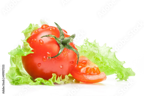 Tomato and lettuce isolated on white background