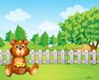 A bear holding a honey at the backyard