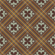 Seamless pattern with plaid and ornaments