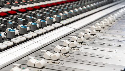 Professional mixer in recording studio