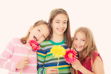 happy children with flowers