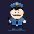 cute policeman with truncheon vector illustration
