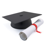3d Graduation mortar board and certificate