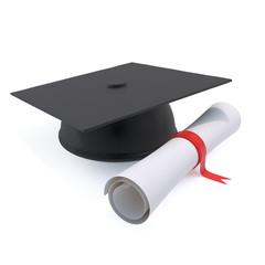 3d Graduation mortar board and certificate