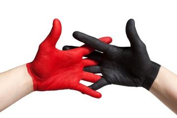 rot schwarzer handschlag