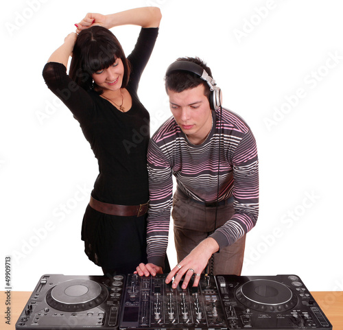 dj and beautiful girl play music and dance