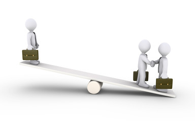 Businessmen agreement on a seesaw