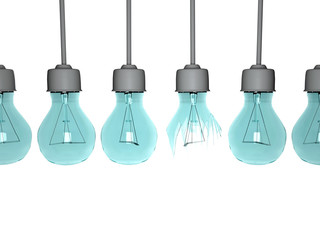 Light bulbs in row, isolated.