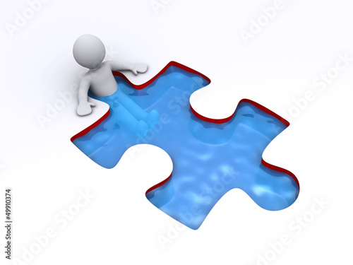 Person is successful inside puzzle shaped pool