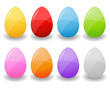 set of painted eggs