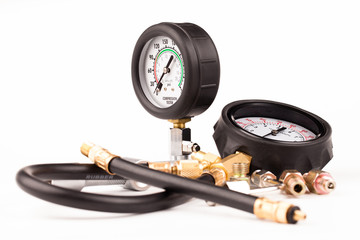 pressure gauge and tools isolated on white