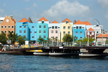 Colorful buildings with bridge