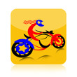 Biker on motorcycle icon