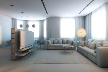 Luxury And Cosy Grey Room In Minimalism Style