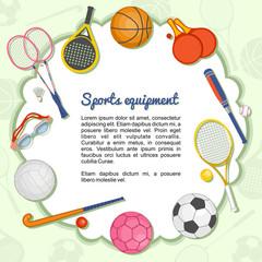 Artículos deportivos formando un marco