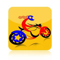 Biker on motorcycle icon