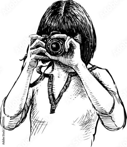 女生手绘拿相机