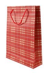 Plaid red beige shopping bag