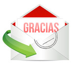 Thank You gratitude card envelope in spanish