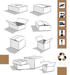 weisse Kartonagen/ Klebeband mit Versandsymbolen