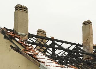 Abgebrannter Dachstuhl