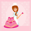 Baking a cake.Illustration of lady baker making a cake