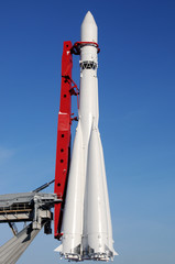 Russian space transport rocket against blue sky