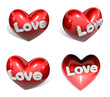 3d big red heart range four set