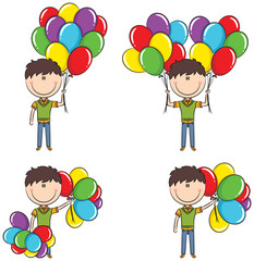 Cute boy with color balloons
