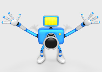 Blue Camera Character expand the with both hands towards the sky