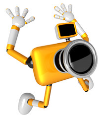 The Yellow Camera Character in Dynamic photos of the jump shot c