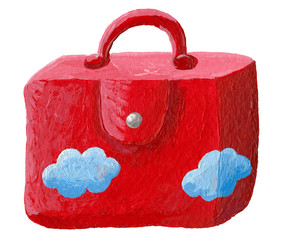 Red suitcase with blue clouds
