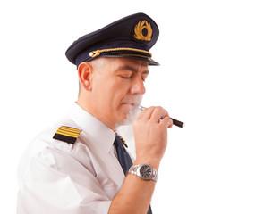 Airline pilot with cigarette
