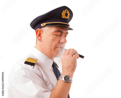 Airline pilot with cigarette