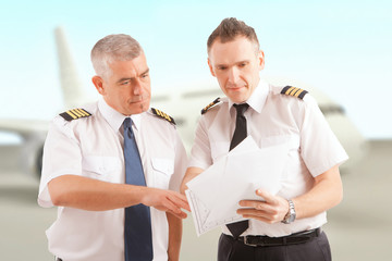 Airline pilots at the airport