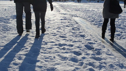 people recreate park woman slide frozen ice evening shadows