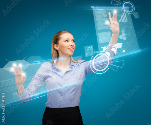 woman working with virtual screens