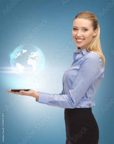 woman with tablet pc and virtual earth